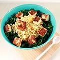 Salade met halloumi en boerenkool