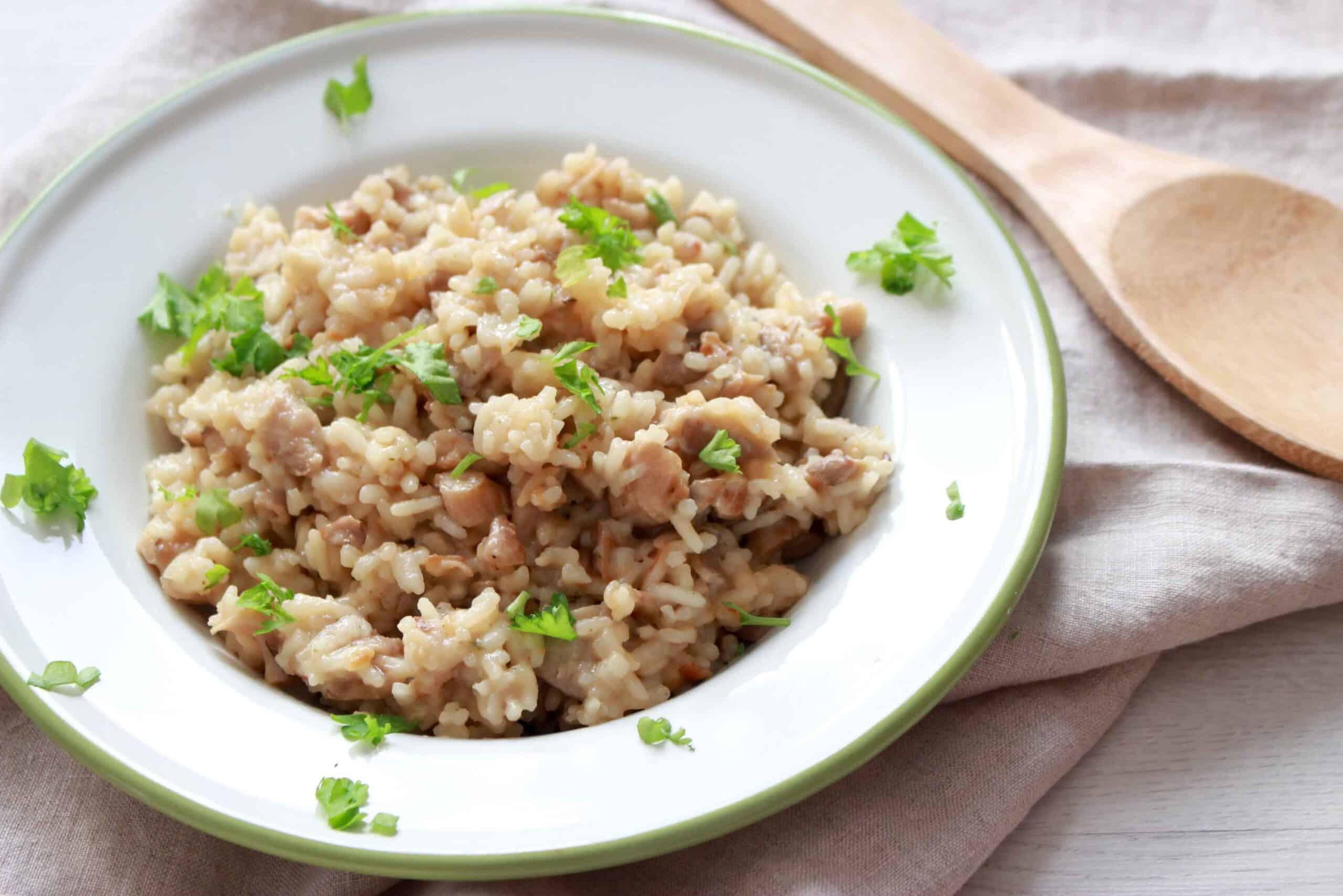 creamy rijst met parmezaan en champignons-5