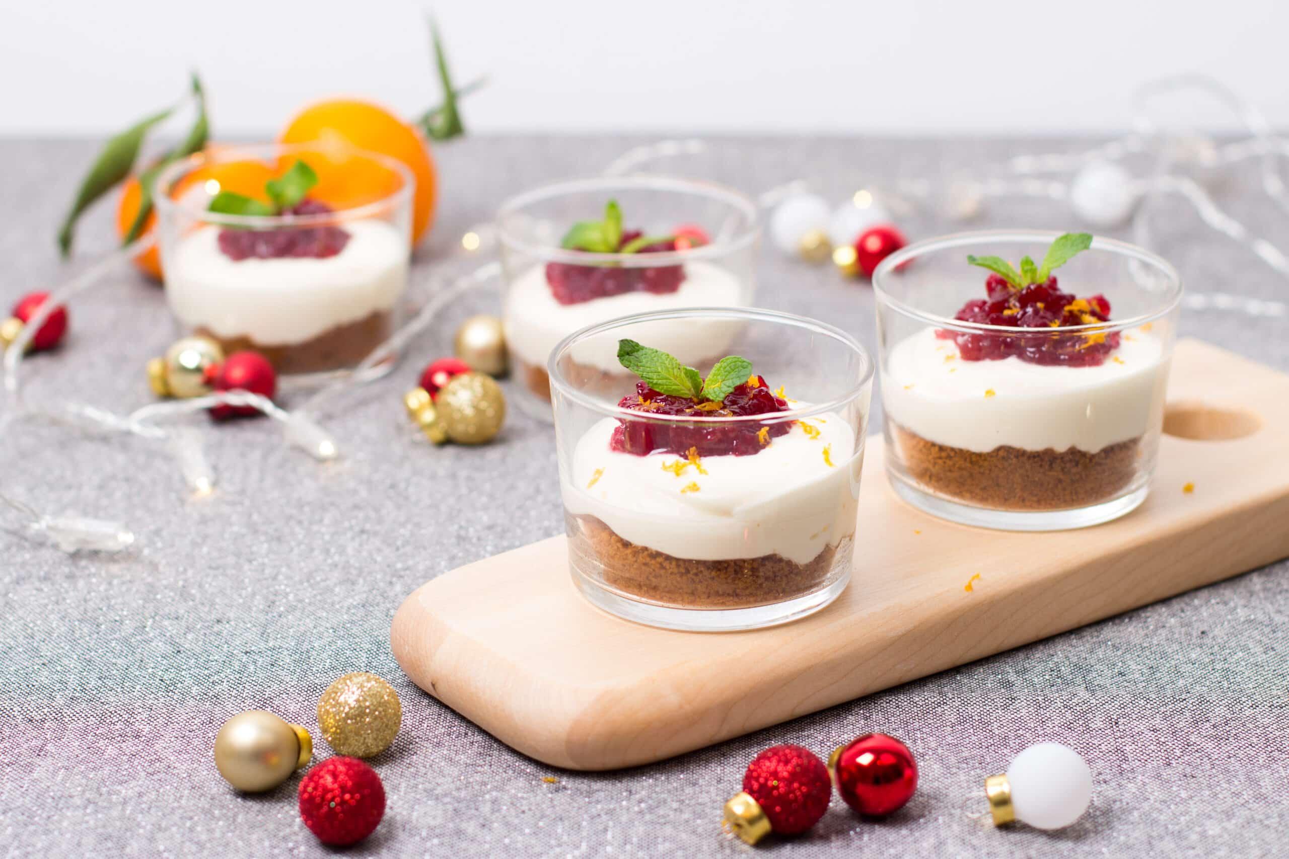 glaasjes cheesecake met speculaas