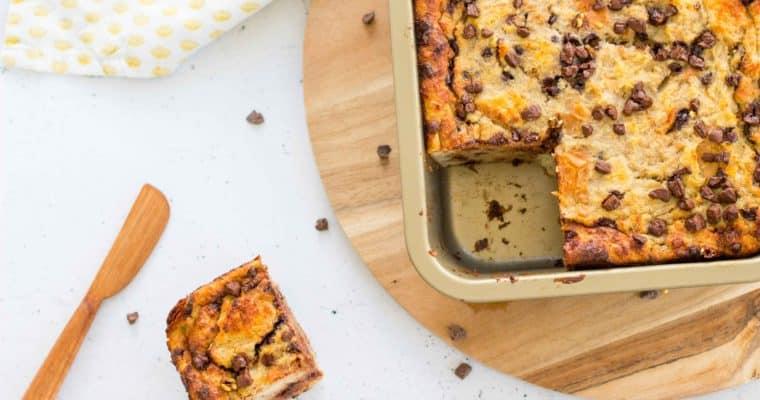 Gezonde broodpudding met banaan & chocolade