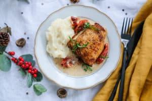 Kerstmenu: Raapjespuree met romige kip uit de oven
