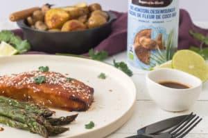 Miso zalm met gegrilde asperges en krieltjes
