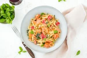 Pasta Boursin met zalm