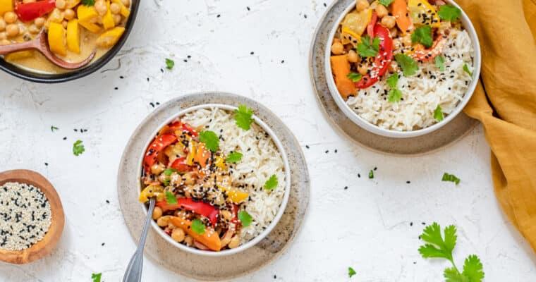 Milde gele pinda veggie curry