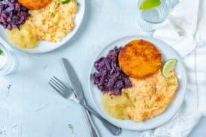 Rodekool met puree vol groentjes en SoFish burger
