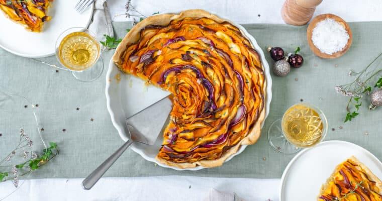 Hartige taart met butternut, zoete aardappel en rode ui
