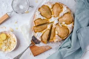Amandelcake met peer en gember (suikervrij, glutenvrij, lactosevrij)