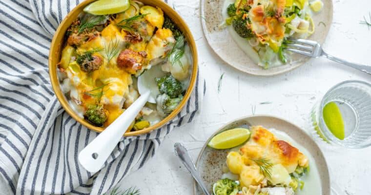 Romige ovenschotel met schelvis, broccoli, prei en krieltjes