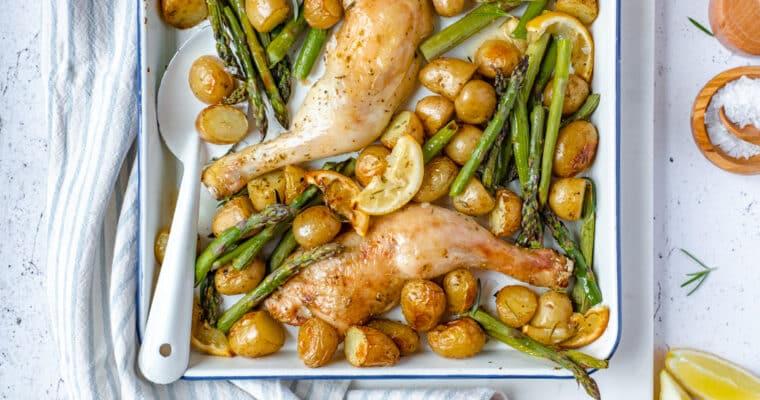 Ovenschotel met asperges, kip en krieltjes